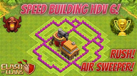 coc th6 layout with air sweeper clash of clans new update hdv 6 propulseur d air base