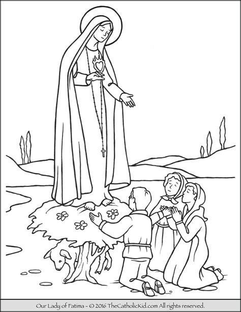 our lady of fatima coloring page thecatholickid com