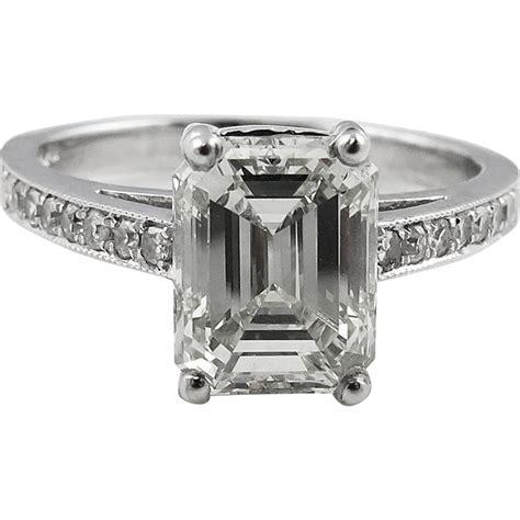 vintage 2 31ct emerald cut engagement platinum