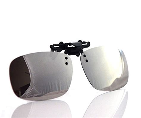 Kacamata Usa Flip Up Polycarbonate Lens besgoods cool siver mirror polarized clip on flip up plastic sunglasses lenses glasses outdoor