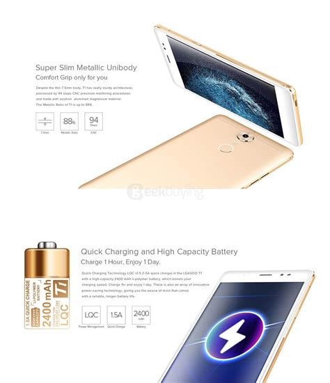 Leagoo T1 Gold leagoo t1 5 0inch mt6737 2gb 16gb smartphone gold