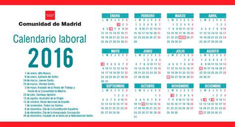 calendario laboral 2016 de la comunidad de madrid