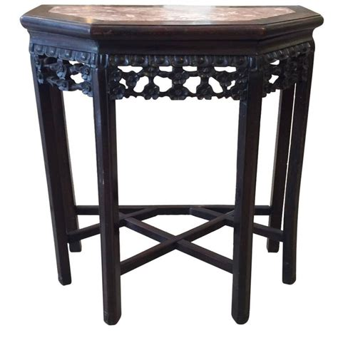 Small Demilune Table by Small Rosewood And Marble Demilune Side Table At 1stdibs
