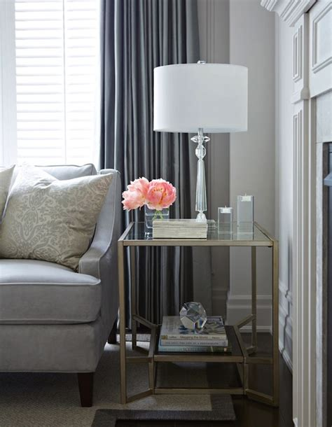 glass end tables for living room brass and glass end table transitional living room