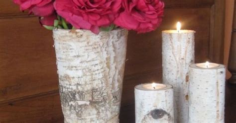 home decor birch wood candle holders wedding decor rustic birch bark vase and 3 birch bark candle holders