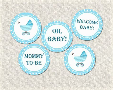 Baby Shower Printable Decorations by Polka Dots Cupcake Toppers Blue Boys Baby Shower