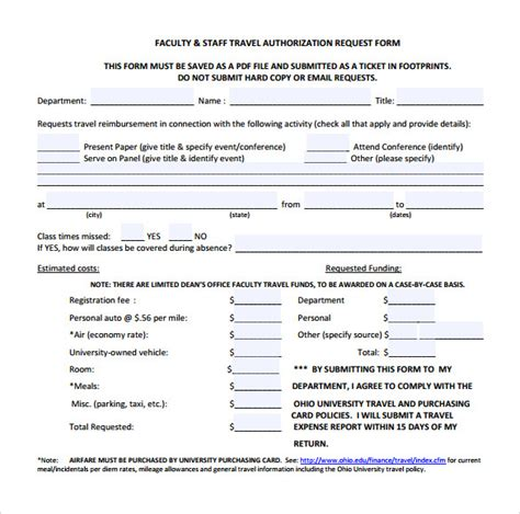 travel authorization form template 9 sle travel authorization form exles to