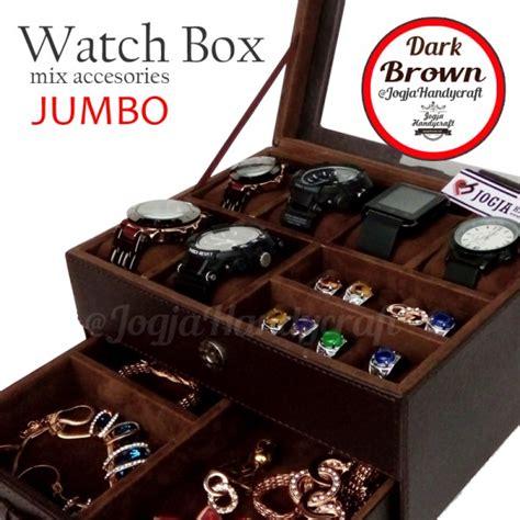 Tempat Perhiasan Kotak kotak tempat jam tangan sport mix tempat perhiasan coklat