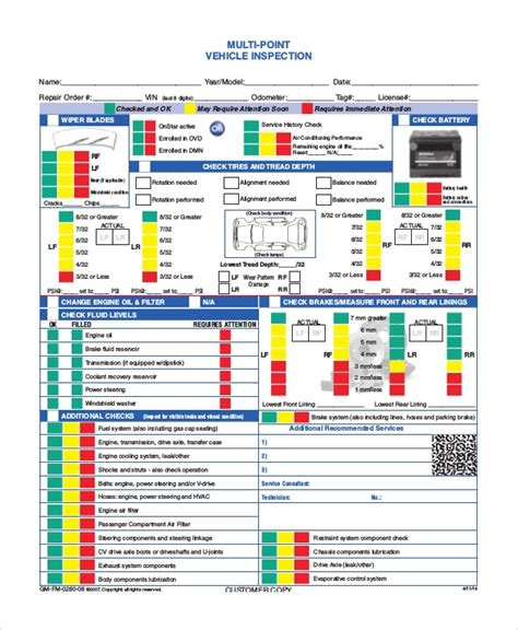 8 Vehicle Inspection Forms Pdf Word Sle Templates Vehicle Inspection Template