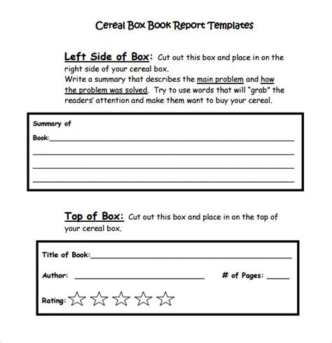 Best Book Report Template Cereal Box Book Report Template 1 Professional And