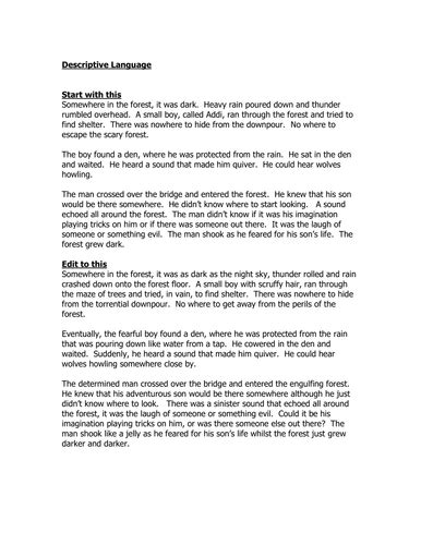 Forest Resources Essay by Somewhere In The Forest Descriptive Writing By Lia Teaching Resources Tes