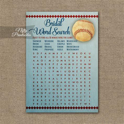 baseball word games printable bridal shower word search game baseball nifty printables