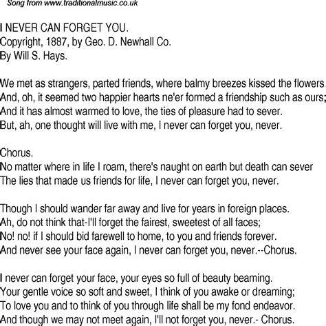 time song lyrics for 20 i never can forget you