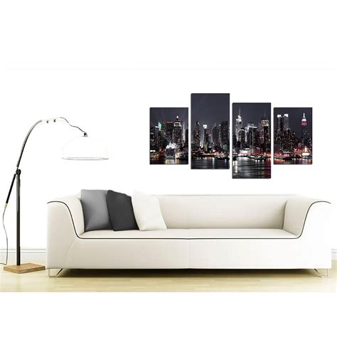 Cheap Wall Pictures For Living Room by Canvas Pictures Of New York Skyline For Your Living Room 4 Panel