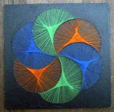 70s String - vintage 1970s string art op art stretched tricolor wool yarns