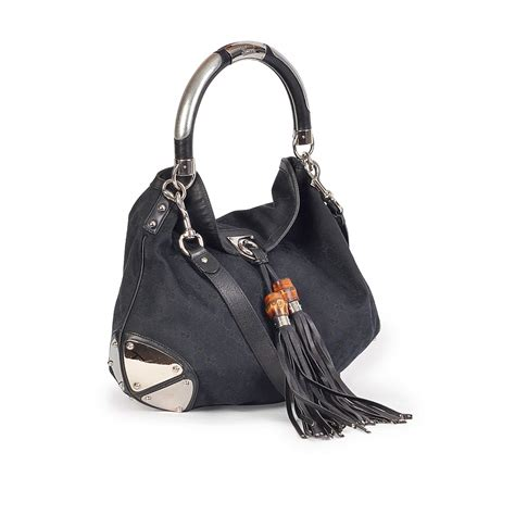 Promo Gucci Bambo 296 gucci babouska indy bamboo tassel hobo black luxity