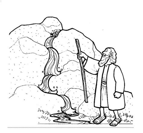 Bible Coloring Page Water From The Rock   moses and the water from the rock water from the rock