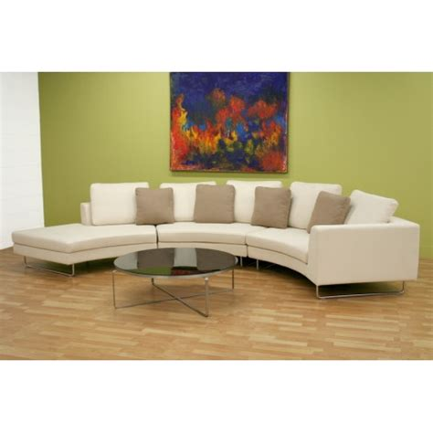 curved sofa sectional modern lilia curved 3 piece tan fabric modern sectional sofa