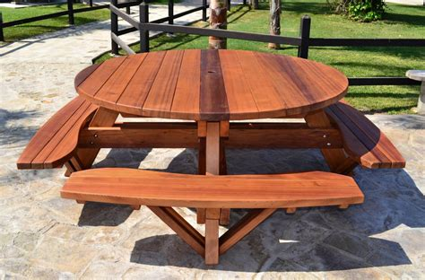 wooden picnic benches round wooden picnic table with attached benches