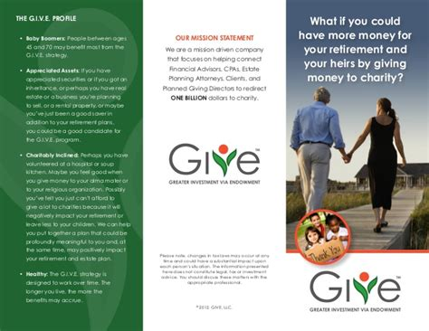 planned giving brochures templates charitable giving brochure