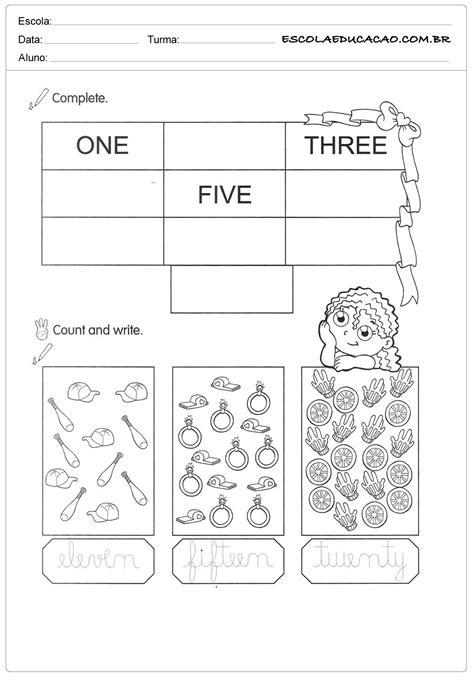 Atividade de inglês números - Escola Educação
