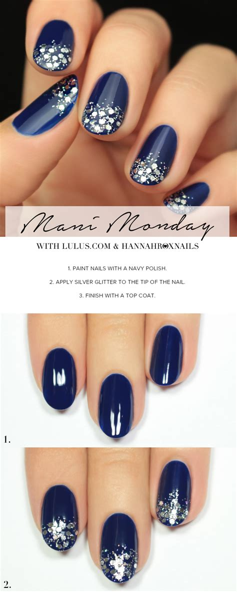what color nail with navy blue dress monday navy blue and silver glitter nail tutorial