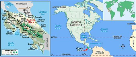 where is costa rica on a world map world map of costa rica travelling world