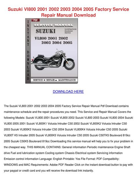 Suzuki Vl800 2001 2002 2003 2004 2005 Factory By