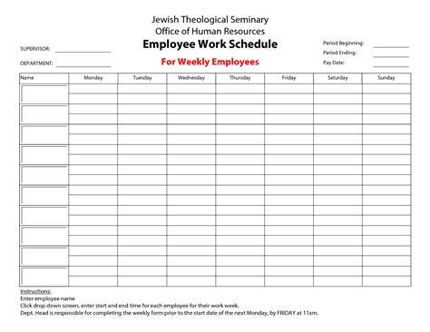 free employee weekly schedule template kays makehauk co