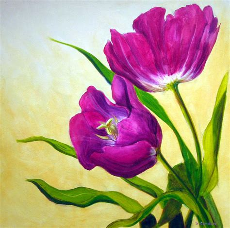 Sepatu Kanvas Floral 1 purple tulips painting by gordon