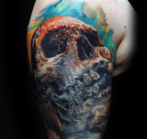 quarter sleeve watercolor tattoo 40 watercolor skull tattoo designs for men colorful ink