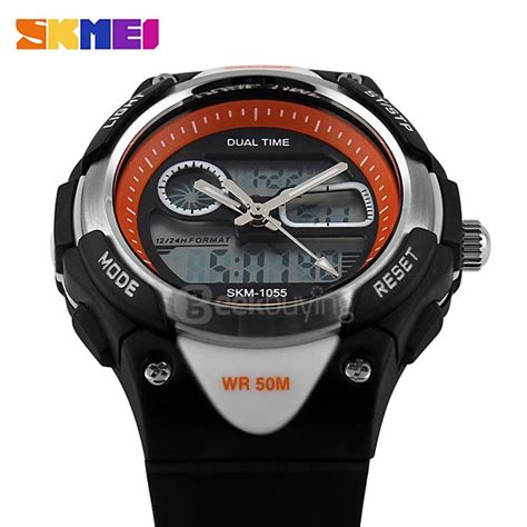 Bestseller Jam Tangan Fashion Stainless Dual Time Led Analog Original skmei 1055 fashion 50m waterproof student led electronic sport