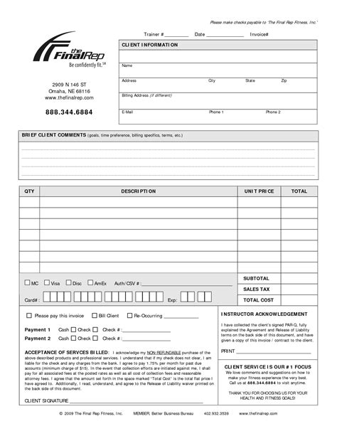 Personal Invoice Template Invoice Exle Free Workout Templates For Personal Trainers
