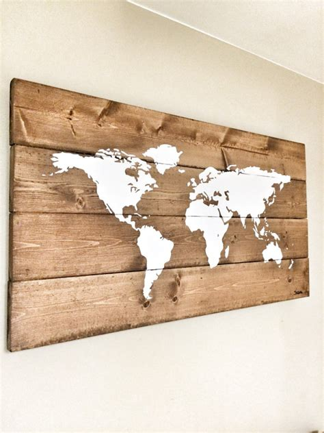 Rustic Wood World Map Rustic Decor Farmhouse Decor Rustic Wooden Wall Decoration