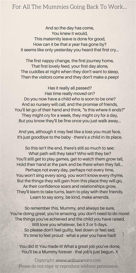 mummies    work   maternity leave poem   work quotes