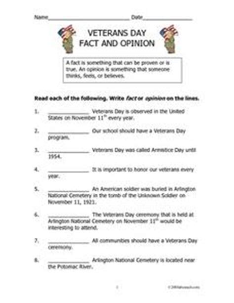 Fact And Opinion Worksheets 8th Grade by Veterans Day Fact And Opinion 2nd 3rd Grade Lesson Plan