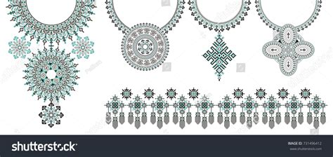 vector pattern jewelery vector ethnic necklace embroidery fashion women stock
