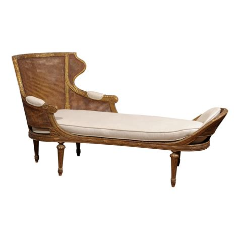 french style chaise 19th century french louis xvi style gilt wood double cane