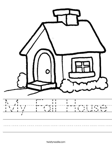Add Text my fall house worksheet twisty noodle