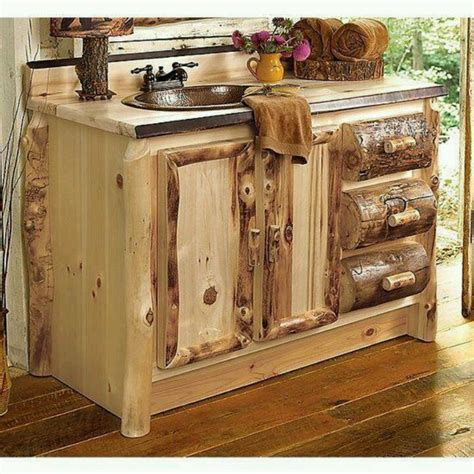 rustic log cabin vanity sink house ideas