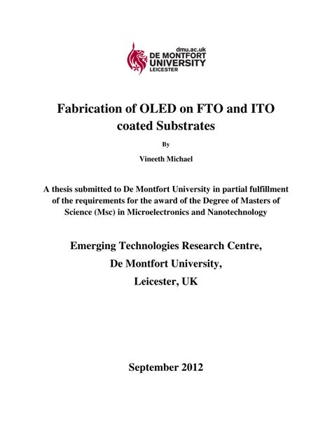 De Montfort Mba Requirements by Fabrication Of Oled On Fto And Ito Coated Substrates A