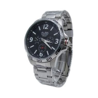 Jam Tangan Alba Rantai Jam Alba 3 jual alba analog tali rantai jam tangan pria 161202 silver hitam harga kualitas