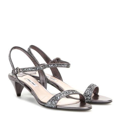 miu miu sandals lyst miu miu glitter embellished kitten heel sandals in