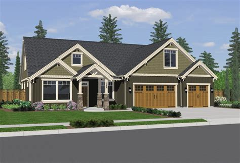 exterior home design one story single story craftsman style homes house plans