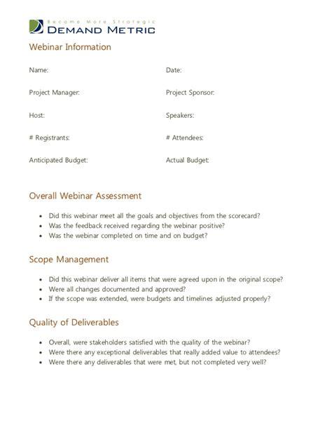 Webinar Evaluation Template Webinar Success Templates
