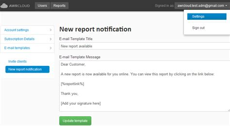 email address template seo reports using awr cloud awr