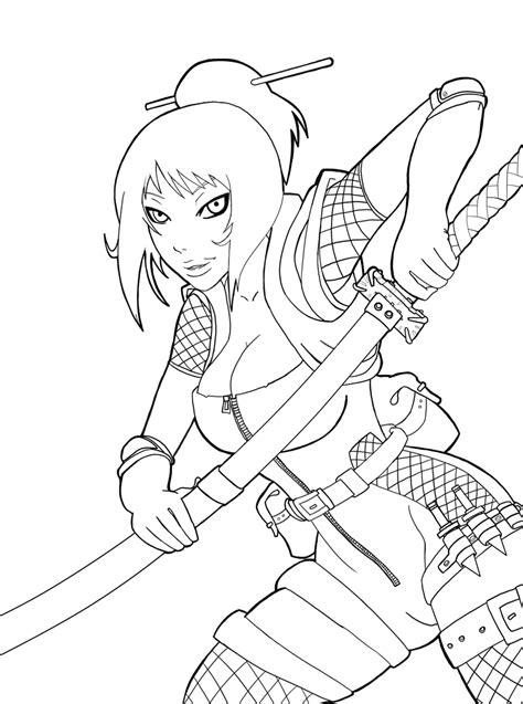 girl ninja coloring page ninja girl lineart by rkhart on deviantart