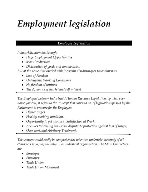 Industrial Relations And Labour Laws Mba Notes by Employment Legislation Mba Hrm Notes
