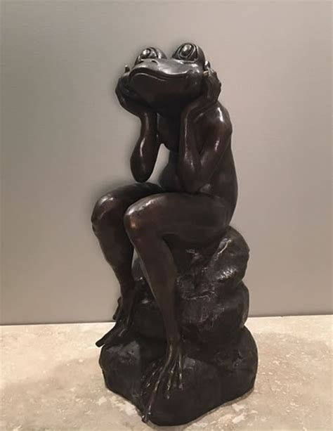 sitting bronze frog sculpture  bronze pa