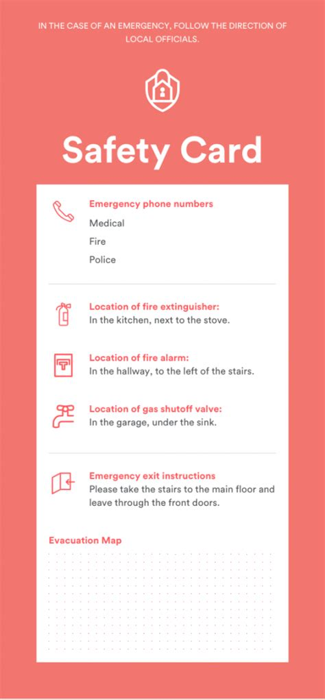 Emergency Card Template Free by New Home Safety Initiatives